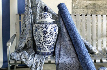 Blue fabrics and decorations
